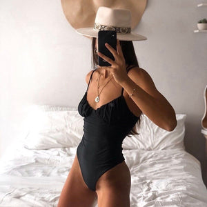 Straps Belt One Piece Padded Swimsuit Black