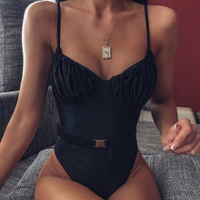 Load image into Gallery viewer, Straps Belt One Piece Padded Swimsuit Black