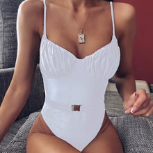 Load image into Gallery viewer, Straps Belt One Piece Padded Swimsuit white