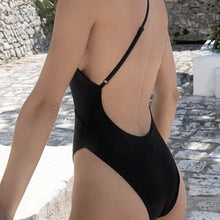 Load image into Gallery viewer, One Shoulder Backless Padded One Piece Swimsuit Black Leopard
