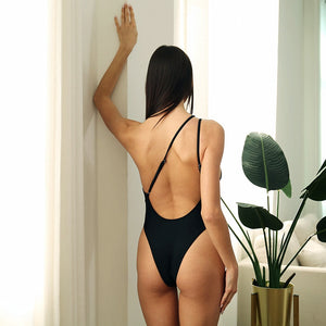One Shoulder Backless Padded One Piece Swimsuit Black Leopard