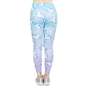 Unicorn llama Printing High Waist Women Leggings