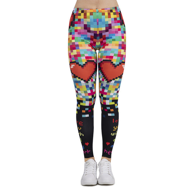 Pixel Love Printing High Waist Women Leggings