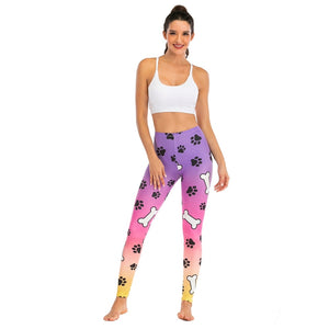 Dog Purple Ombre Gradient Printing High Waist Women Leggings