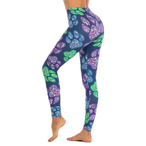 Colored Dog Paw Printing High Waist Women Leggings