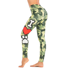 Load image into Gallery viewer, Camouflage Love Dog Printing High Waist Women Leggings