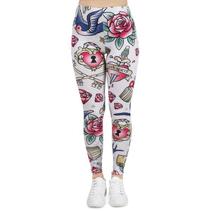 Valentines Tattoos Printing High Waist Women Leggings