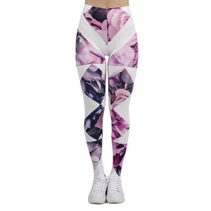 Diamond Floral Printing High Waist Women Leggings
