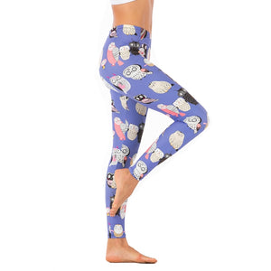 Purple Cartoon Owl Printing High Waist Women Leggings
