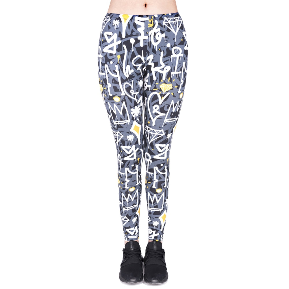Graffiti Printing High Waist Women Leggings