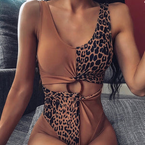 Ring Leopard Patchwork One Piece Padded Swimsuit