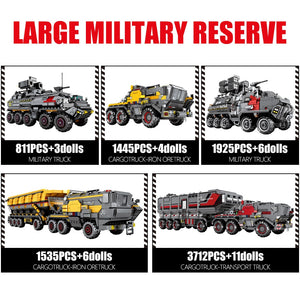 Military Tank Cargo Carrier Model 4 Building Blocks Toy 811 pcs + 3 dolls
