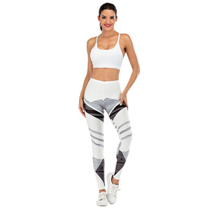White Streak Printing High Waist Women Leggings