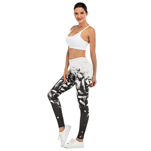 White Paint Printing High Waist Women Leggings