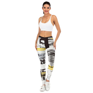 Stitching streak Printing High Waist Women Leggings