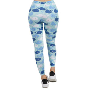 Happy Whales Printing High Waist Women Leggings