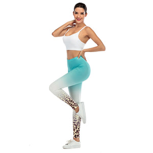 Blue Gradient Leopard Printing High Waist Women Leggings