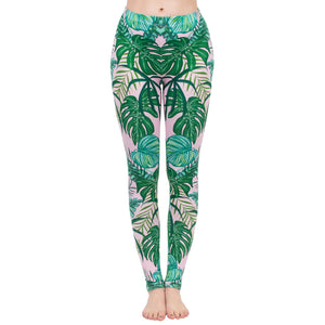Pink Tropics Printing High Waist Women Leggings