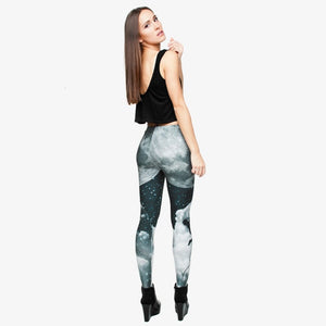 Night Moon 3D Printing High Waist Women Leggings
