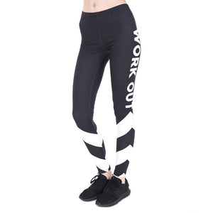 Work Out White Arrows Printing High Waist Women Leggings