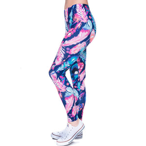 Feathers Color Printing High Waist Women Leggings