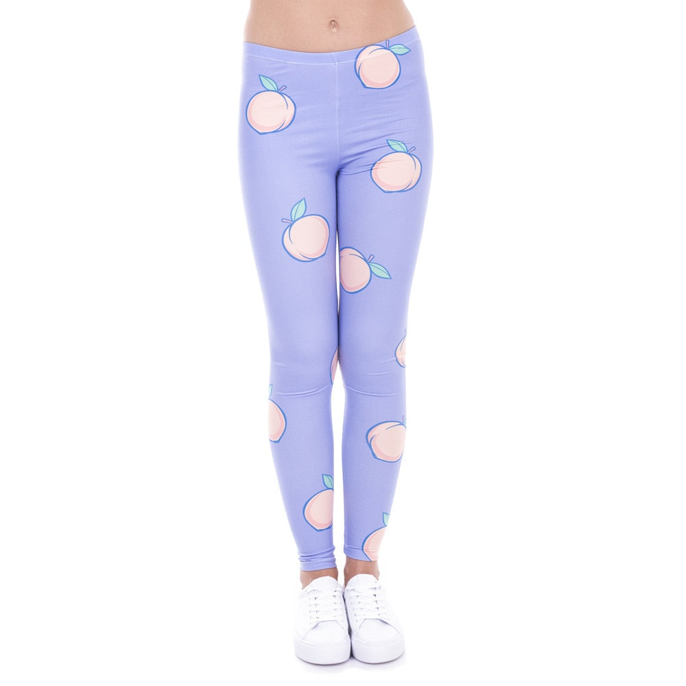 Peach Printing High Waist Women Leggings