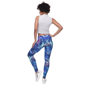 Tropical Leaves Printing High Waist Women Leggings