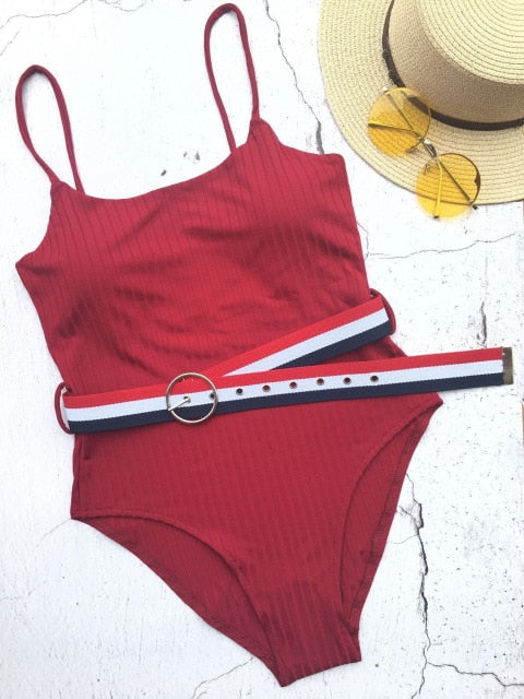 Solid With A Belt Padded One Piece Swimsuit Red Wine