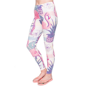 Elegant Flamingo Printing High Waist Women Leggings