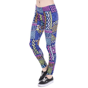 African Zig Zag Purple Printing High Waist Women Leggings