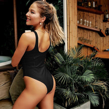 Load image into Gallery viewer, Cross Lace Padded One Piece Swimsuit Black
