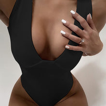 Load image into Gallery viewer, Solid One Piece Padded Swimsuit Black