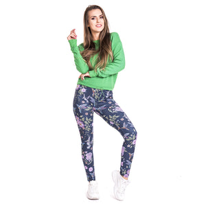 Humming bird imitate Jeans Printing High Waist Women Leggings