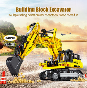 City Engineering Excavator Building Blocks Construction Toys 841 pcs + 3 dolls