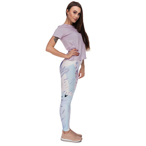 Pastel Abstract Printing High Waist Women Leggings