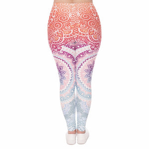 Aztec Round Ombre Printing Plus Size Women Leggings