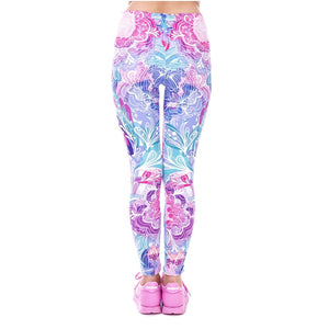 Exotic Purple Flowers Printing High Waist Women Leggings