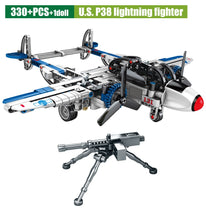 Load image into Gallery viewer, Military Series Fighter Airplane Model WW2 U.S P38 Lightning Fighter Building Blocks Toy 330 pcs + 1 dolls