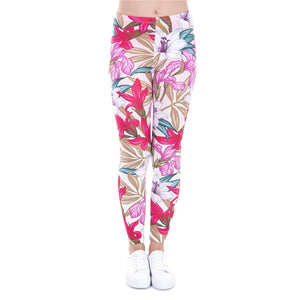 Paradise Flowers Printing High Waist Women Leggings