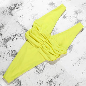 V-Neck Padded One Piece Swimsuit Yellow