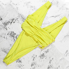 Load image into Gallery viewer, V-Neck Padded One Piece Swimsuit Yellow