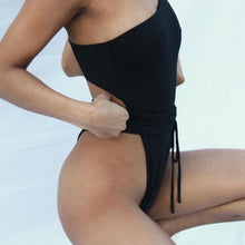 Load image into Gallery viewer, One-Shoulder Belt Bandage Padded One Piece Swimsuit Black