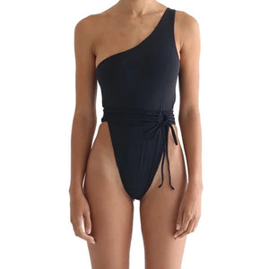 One-Shoulder Belt Bandage Padded One Piece Swimsuit Black