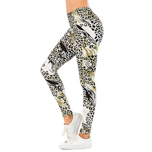 Leopard Print Printing High Waist Women Leggings