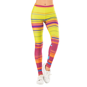 Colorful Stripe Printing Printing High Waist Women Leggings
