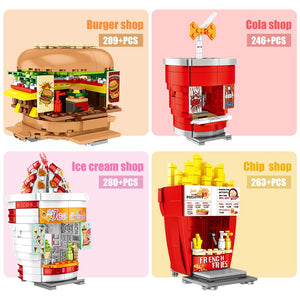 French Fries Shop Food Store Buildings Blocks Toy 263 pcs + 2 dolls