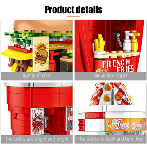 Multi Food Store Buildings Blocks Toy 998 pcs + 8 dolls
