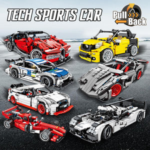 Pull Back Extreme Speed Super Racing Car Building Blocks Toy Model 2 369 pcs + 1 doll
