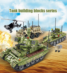 Military WW2 Tank Model 1 Building Blocks Toy + 2 dolls