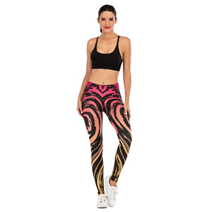 Gradient Streak Printing High Waist Women Leggings